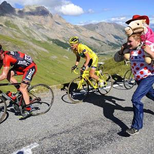 All kinds of high drama during this year's race. Here, Cadel Evans of Australia (left) and Thomas Voeckler of France were pursued by what appears to be an escapee from a local asylum somewhere between  Pinerolo and Col du Galibier Serre Chevalier.