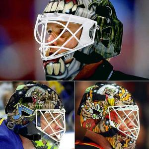Dallas Stars (1999), St. Louis Blues (2001),  Calgary Flames (2003)    Eddie will return for the 2011-12 season on a new mask worn by Chris Mason of the Winnipeg Jets.