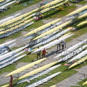 Boats and oars of all sizes are set up on racks at the course on Lake Bled in Slovenia when they are not in use.