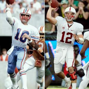 Football runs in the family genes of several NCAA football players. Here are some who are trying to follow in their father's footsteps and make it to the NFL.   Andrew Luck, quarterback for Stanford and the leading 2011 Heisman candidate, has grown up surrounded by football. His father, Oliver, played for the Houston Oilers for four years before becoming actively involved with NFL Europe.