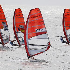 Competitors from Israel, Spain, Italy and France compete in the women's RS:X gold medal race on Dec. 11 at the ISAF Sailing World Championships in Perth, Australia. Lee Korzits of Israel took gold.