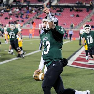 Spearheaded by the three-pronged attack of Travis Wright (13), Dalyn Dawkins and James Quick, Trinity mauled opponents in 2011. It won by an average of 41.5 points -- a number that jumped to 49.4 in the playoffs. Even scarier, the Shamrocks could be even better next year. Wright, Dawkins and Quick -- a trio that combined for 4,295 yards and 60 touchdowns -- are all juniors.