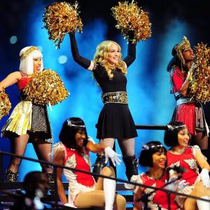 Madonna's high-energy, Roman-themed show at halftime of Super Bowl XLVI in Indianapolis included guest appearances from Nicki Minaj (left) and M.I.A. (right), as well as Cee Lo Green and LMFAO.