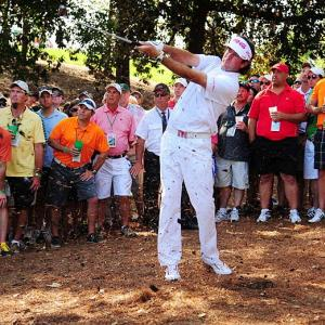 Eventual 2012 Masters champion Bubba Watson takes a swing at Augusta. The win would be Watson's first victory at a major.