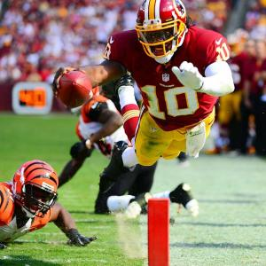 Washington Redskins quarterback Robert Griffin III stepped out of bounds shy of the goal line during the Redskins' loss to the Cincinnati Bengals.