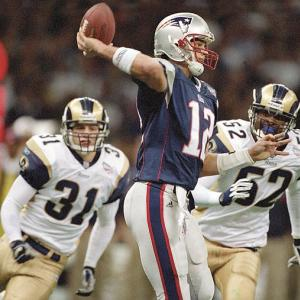 After two previous Super Bowl losses in the Patriots' history, the third time was the charm. In Super Bowl XXXVI, New England was quarterbacked by a sixth-round draft pick in relative unknown Tom Brady and was up against the Rams, winners of the game two seasons before, and known as