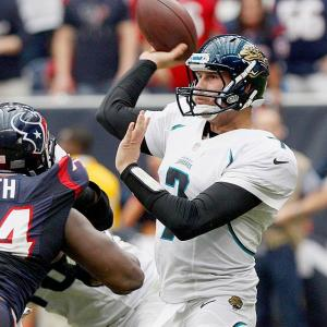 Can Henne pull off a second-straight surprise? He'll get every opportunity as he unleashes his suddenly potent receiving corps against a Titans defense that has given up an average of 276.1 yards and two touchdowns per game to opposing passers.