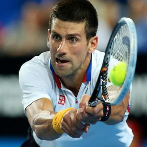 Novak Djokovic competes against Andreas Seppi of Italy during the Hopman Cup in Perth, Australia.