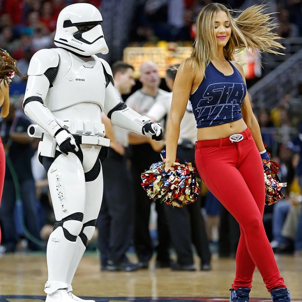 A stormtrooper dances with the New Orleans Pelicans dance team during a game against the Washington Wizards on Dec. 11, 2015 at Smoothie King Center in New Orleans.