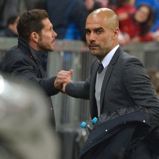 Atletico Madrid and Bayern Munich managers Diego Simeone and Pep Guardiola
