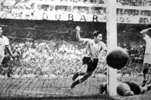 Alcides Ghiggia celebrates his goal in the 1950 World Cup final that crushed Brazil's dreams at the Maracana.