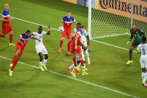 John Brooks heads home the USA's late winner against Ghana in the teams' World Cup opener.