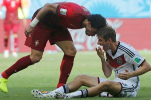 Portugal defender Pepe was red carded for headbutting Germany's Thomas Muller in the teams' Group G opener on Monday.