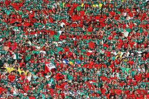 Mexico fans, pictured above at Estadio Castelao in Fortaleza, have been cleared by FIFA for using an anti-gay chant.