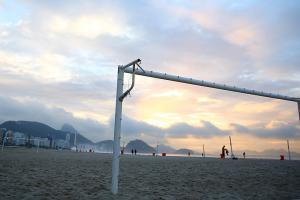 Away from the stadiums themselves, the sun comes up on Copacabana beach in Rio de Janeiro, and that means that the soccer is nearby -- always.