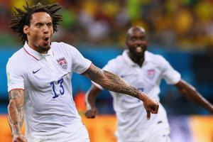 Jermaine Jones celebrates his incredible strike that brings the USA level with Portugal.