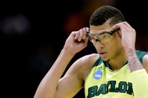 Baylor's Isaiah Austin adjusts his glasses during a game against Nebraska