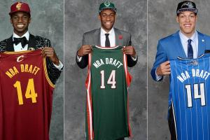 The top five included (from left) No. 1 Andrew Wiggins, No. 2 Jabari Parker and No. 4 Aaron Gordon.