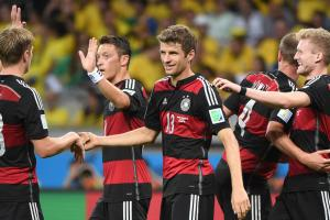 There was plenty of cause for celebration for Toni Kroos (18), Thomas Muller (13) and the rest of Germany during a stunning 7-1 destruction of Brazil in the World Cup semifinals.