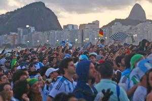 Fans packed Copacabana beach to watch every game of the World Cup, including those above taking in the final between Germany and Argentina on Sunday.