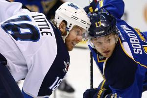 The NHL's top face-off man, Vladimir Sobotka (17) won