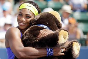 Serena Williams at Bank of the West Classic celebrates her victory