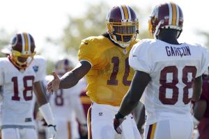 Robert Griffin III with Pierre Garcon at Redskins camp