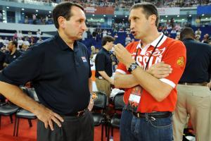 Mike Krzyzewski and David Blatt