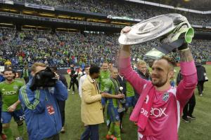Seattle Sounders goalkeeper Stefan Frei lifts the Supporters' Shield; Is there an MLS Cup in his future?