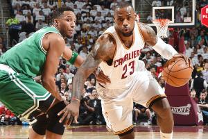 LeBron James scored 15 of his 30 points in the fourth quarter against Boston.