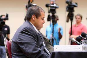Jay head coach Gary Gutierrez, pictured during a Sept. 24 hearing, received two years probation.