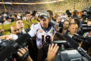 Peyton Manning celebrates after the Broncos' Super Bowl 50 victory.