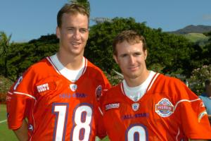 Peyton Manning got a retirement gift of an awkward 1998 photo from Drew Brees