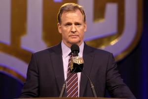 Roger Goodell addresses the media at his Super Bowl 50 press conference.