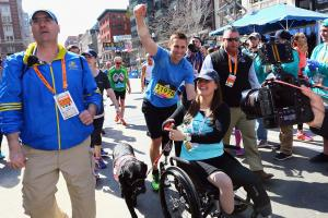 Bombing survivor finishes Boston Marathon