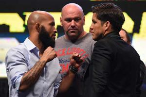 Demetrious Johnson and Henry Cejudo during a press conference for UFC 197.  (Josh Hedges/Zuffa LLC/Zuffa LLC via Getty Images)