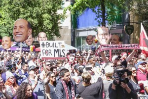 Sacramento Republic fans at a really for Major League Soccer
