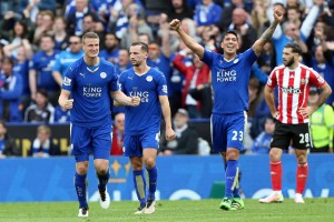 Leicester City's Robert Huth, Christian Fuchs, Leonardo Ulloa and Danny Drinkwater