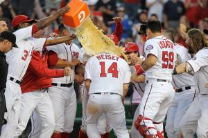 Nats tie game on errant throw, walk off in 16th