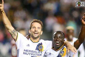 Mike Magee, Emmanuel Boateng celebrate during the LA Galaxy's win over Real Salt Lake
