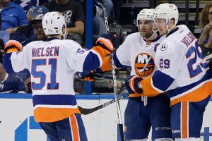 Prince scores twice in Isles Game 1 win