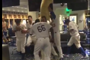 Dodgers celebrate win with giant bag of popcorn