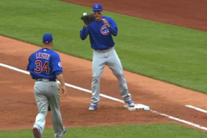 Lester throws entire glove to first to record out
