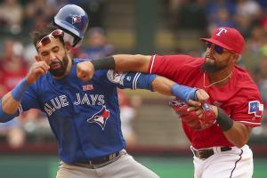 blue jays rangers brawl punch odor bautista