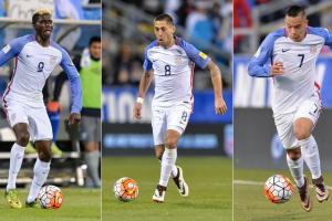 USA forwards Gyasi Zardes, Clint Dempsey, Bobby Wood