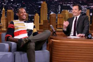Knicks' Carmelo Anthony does the running man challenge with Jimmy Fallon