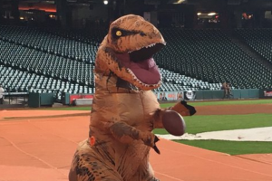 Astros' George Springer dresses up like a dinosaur an...