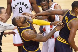 LeBron James flops during in-game scuffle
