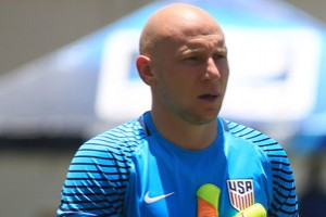 USA'S Brad Guzan, Bobby Wood and DeAndre Yedlin