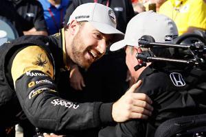 IndyCar driver James Hinchcliffe and team owner Sam Schmidt